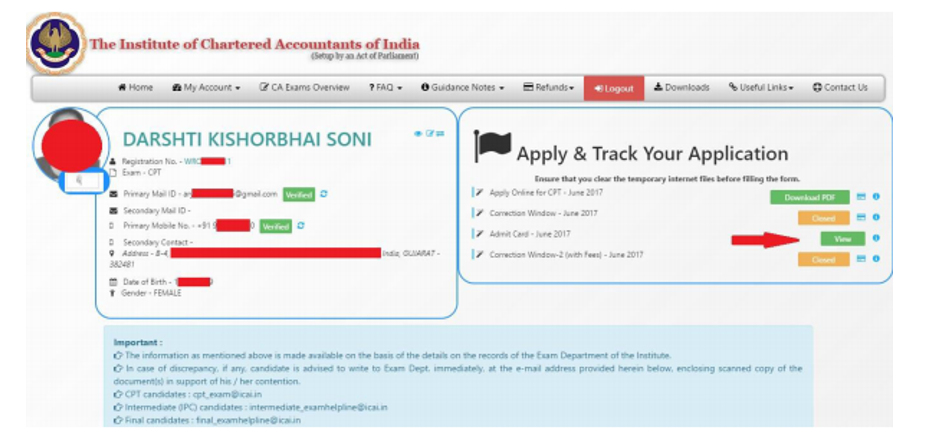 Download CA CPT Admit Card 2018